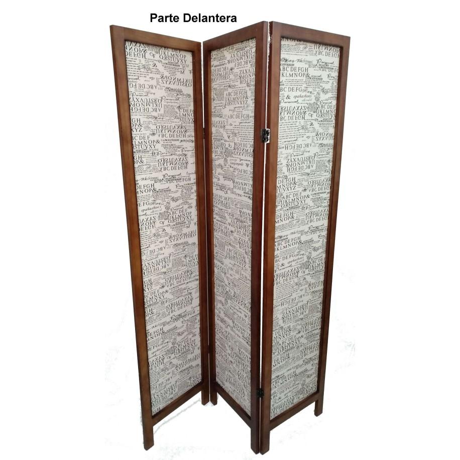 Biombo de madera y tela Excellent nogal
