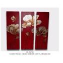 Triptico 3 cuadros flores plateadas.