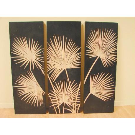 Tiptico de palmeras en madera